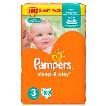 Подгузники PampersПодгузники Pampers Sleep  and  Play 5-9 кг 3 размер 100 шт, в упаковке 100 шт., размер M<br><br>Штук в упаковке: 100<br>Размер: M