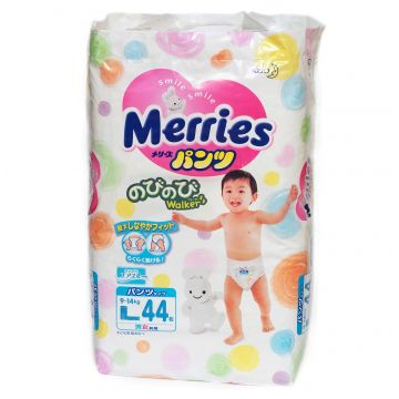 Трусики MerriesТрусики Merries L (9-14 кг) 44 шт, в упаковке 44 шт., размер L<br><br>Штук в упаковке: 44<br>Размер: L