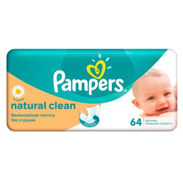 Салфетки детские увлажненные PampersСалфетки детские увлажненные Pampers Naturally Clean 64 шт, в упаковке 64 шт.<br><br>Штук в упаковке: 64