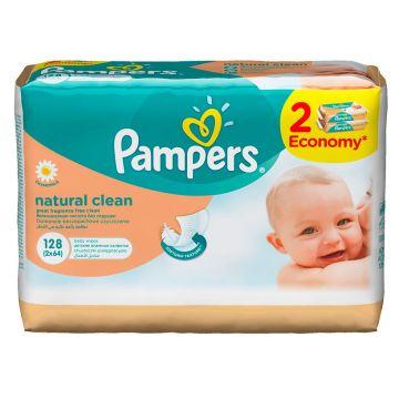 Салфетки детские увлажненные PampersСалфетки детские увлажненные Pampers Naturally Clean Duo 2X64, в упаковке 128 шт.<br><br>Штук в упаковке: 128