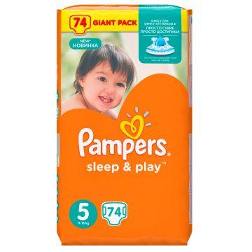 Подгузники PampersПодгузники Pampers Sleep  and  Play 11-18 кг 5 размер 74 шт, в упаковке 74 шт., размер XL (BIG)<br><br>Штук в упаковке: 74<br>Размер: XL (BIG)