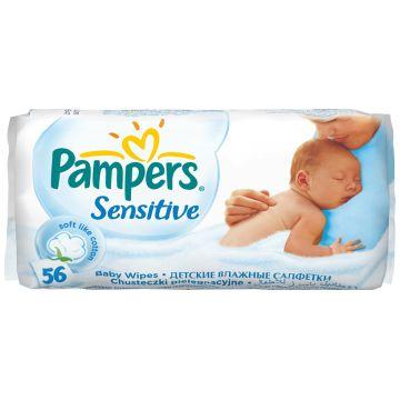 Салфетки детские увлажненные PampersСалфетки детские увлажненные Pampers Sensitive запасной блок 56 шт, в упаковке 56 шт.<br><br>Штук в упаковке: 56