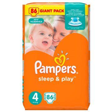 Подгузники PampersПодгузники Pampers Sleep  and  Play 8-14 кг 4 размер 86 шт, в упаковке 86 шт., размер L<br><br>Штук в упаковке: 86<br>Размер: L