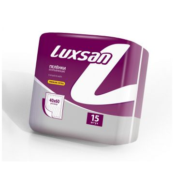 Пеленки детские LuxsanПеленки детские Luxsan Premium/Extra 40х60 см 15 шт, в упаковке 15 шт.<br><br>Штук в упаковке: 15