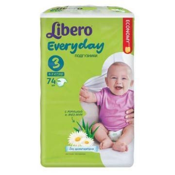 Подгузники LiberoПодгузники Libero Every Day размер M (4-9 кг) с ромашкой 74 шт, в упаковке 74 шт., размер M<br><br>Штук в упаковке: 74<br>Размер: M