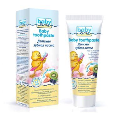 Зубная паста детская BabylineЗубная паста детская Babyline со вкусом Тутти-Фрутти 75 мл, объем, 75л.<br><br>Объем, л.: 75