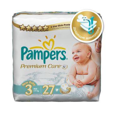 Подгузники PampersПодгузники Pampers Premium Care Midi (4-9 кг) Средняя Упаковка 27 шт, в упаковке 27 шт., размер M<br><br>Штук в упаковке: 27<br>Размер: M