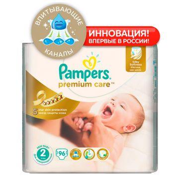 Подгузники PampersПодгузники Pampers Premium Care 3-6 кг 2 размер 90/96 шт, в упаковке 90 шт., размер S<br><br>Штук в упаковке: 90<br>Размер: S