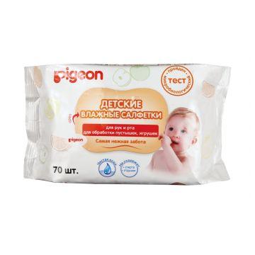 Влажные салфетки детские PigeonВлажные салфетки Pigeon для рук и рта, для обработки пустышек и игрушек, 70 шт, в упаковке 60 шт., возраст с 0 мес.<br><br>Штук в упаковке: 60<br>Возраст: с 0 мес.
