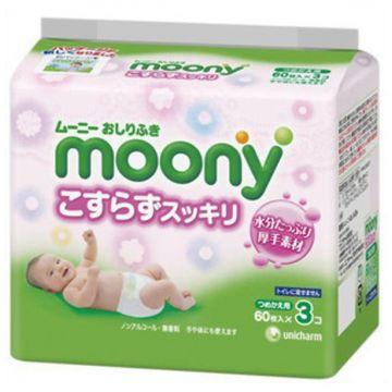 Влажные гигиенические салфетки Moony запасной блок 60х3 шт