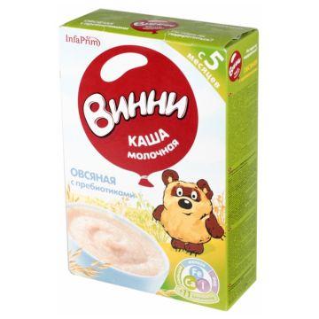 Каша ВинниКаша Винни овсяная молочная с пребиотиками 1 ступень 220 г, возраст 3 ступень (6-12 мес). Проконсультируйтесь со специалистом. Для детей  с 0 месяцев<br><br>Возраст: 3 ступень (6-12 мес)