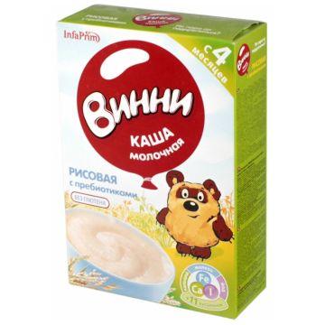 Каша ВинниКаша Винни рисовая молочная с пребиотиками с 4 мес. 220 г, объем, 220л., возраст 2 ступень (3-6 мес). Проконсультируйтесь со специалистом. Для детей с 4 мес.<br><br>Объем, л.: 220<br>Возраст: 2 ступень (3-6 мес)
