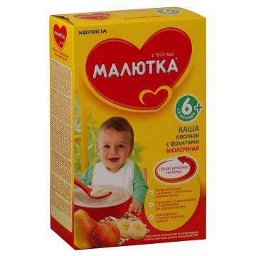 Каша Малютка, Nutricia Малютка овсяная с фруктами молочная с 6 мес. 250 г