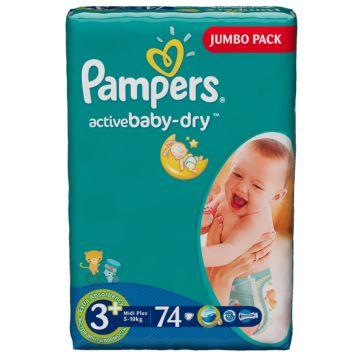 Подгузники PampersПодгузники Pampers Active Baby Midi Plus (5-10 кг) Джамбо упаковка 74 шт, в упаковке 74 шт., размер M<br><br>Штук в упаковке: 74<br>Размер: M