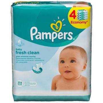Салфетки детские увлажненные PampersСалфетки детские увлажненные Pampers Baby Fresh Clean 256 шт, в упаковке 256 шт.<br><br>Штук в упаковке: 256