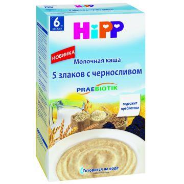 Каша Детское питание HippКаша Hipp 5 злаков с черносливом и пребиотиками молочная 250 г, объем, 250л., возраст 3 ступень (6-12 мес). Проконсультируйтесь со специалистом. Для детей с 6 мес.<br><br>Объем, л.: 250<br>Возраст: 3 ступень (6-12 мес)