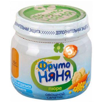 Детское пюре ФрутоняняДетское пюре Фрутоняня Овощной салатик цветная капуста с кукурузой и морковью с 5 мес. 80 г, в упаковке 12 шт., возраст 2 ступень (3-6 мес). Проконсультируйтесь со специалистом. Для детей с 5 мес.<br><br>Штук в упаковке: 12<br>Возраст: 2 ступень (3-6 мес)