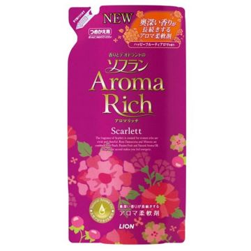 Кондиционер для белья Lion Aroma RICH Scarlett с натуральными маслами роза мимоза запасной блок 450 мл