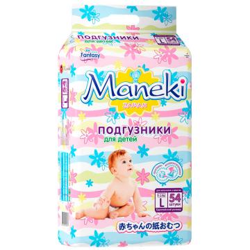 Подгузники ManekiПодгузники Maneki серия Fantasy размер L (9-14 кг) 54 шт, в упаковке 54 шт., размер L<br><br>Штук в упаковке: 54<br>Размер: L