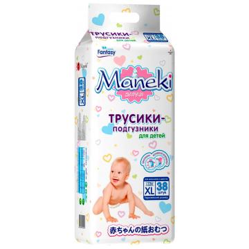 Трусики ManekiТрусики Maneki XL (12+ кг) 38 шт, в упаковке 38 шт., размер XL (BIG)<br><br>Штук в упаковке: 38<br>Размер: XL (BIG)