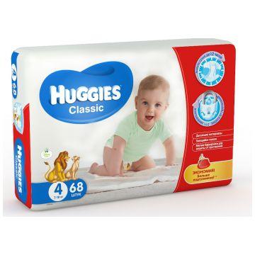 Подгузники HuggiesПодгузники Huggies Classic 4 (7-18 кг) мега 68 шт, в упаковке 68 шт., размер L<br><br>Штук в упаковке: 68<br>Размер: L