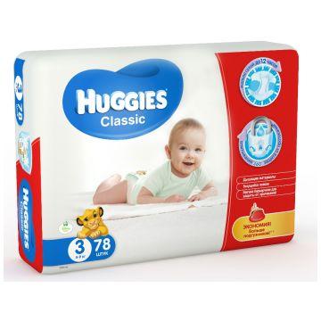 Подгузники HuggiesПодгузники Huggies Classic 3 (4-9 кг) мега 78 шт, в упаковке 78 шт., размер M<br><br>Штук в упаковке: 78<br>Размер: M