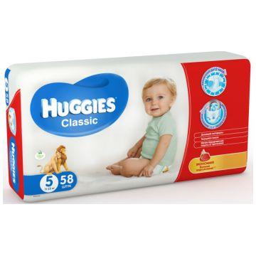 Подгузники HuggiesПодгузники Huggies Classic 5 (11-25 кг) мега 58 шт, в упаковке 58 шт., размер XL (BIG)<br><br>Штук в упаковке: 58<br>Размер: XL (BIG)
