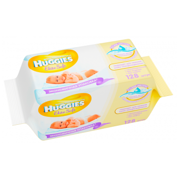 Салфетки детские влажные Huggies Elite Soft без отдушки 128 шт