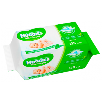Салфетки детские влажные HuggiesСалфетки детские влажные Huggies Ultra Comfort + Aloe 128 шт, в упаковке 128 шт.<br><br>Штук в упаковке: 128