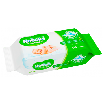 Салфетки детские влажные HuggiesСалфетки детские влажные Huggies Ultra Comfort + Aloe 64 шт, в упаковке 64 шт.<br><br>Штук в упаковке: 64