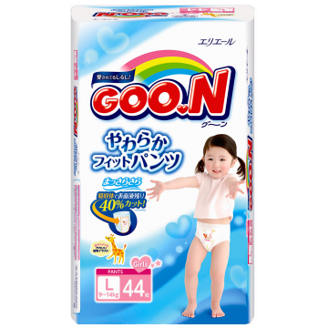 Трусики Goo.NТрусики Goo.N для девочек L (9-14 кг) 44 шт, в упаковке 44 шт., размер L<br><br>Штук в упаковке: 44<br>Размер: L