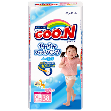 Трусики Goo.NТрусики Goo.N для девочек BIG (12-20 кг) 38 шт, в упаковке 38 шт., размер XL (BIG)<br><br>Штук в упаковке: 38<br>Размер: XL (BIG)