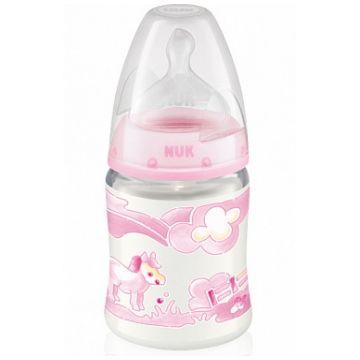 Бутылочка NukБутылочка Nuk Baby Rose (First Choice) пластиковая 150 мл + соска с вентиляцией из силикона р. 1 М с рождения, размер 0-6 мес., возраст 1 ступень (0-3 мес)<br><br>Размер: 0-6 мес.<br>Возраст: 1 ступень (0-3 мес)