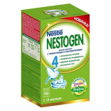 Детское молочко (молочная смесь) NestogenДетское молочко (молочная смесь) Nestogen 4 (с пребиотиками) с 18 мес. 700 г, в упаковке 2 шт., возраст 4 ступень (&gt;12 мес). Проконсультируйтесь со специалистом. Для детей с 18 мес.<br><br>Штук в упаковке: 2<br>Возраст: 4 ступень (&gt;12 мес)