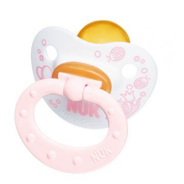 Пустышка NukПустышка Nuk Baby Rose для сна с кольцом латекс р. 2 с 6 мес.<br>