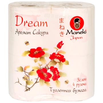 Туалетная бумага Maneki Dream 3 слоя 23 м 4 рулона с ароматом сакуры