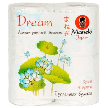 Туалетная бумага ManekiТуалетная бумага Maneki Dream 3 слоя 23 м 4 рулона с ароматом утренней свежести, в упаковке 4 шт.<br><br>Штук в упаковке: 4