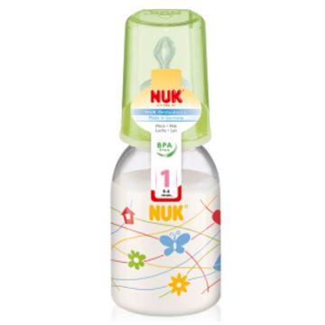 Бутылочка NukБутылочка Nuk  пластиковая (ПП) 110 мл. + соска с вентиляцией из латекса, р1 с рождения, размер 0-6 мес., возраст 1 ступень (0-3 мес)<br><br>Размер: 0-6 мес.<br>Возраст: 1 ступень (0-3 мес)