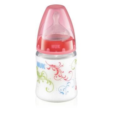 Бутылочка NukБутылочка Nuk First Choice пластиковая, 150 мл разноцветная + соска с вентиляцией из силикона, р1. для молока с рождения, размер 0-6 мес., возраст 1 ступень (0-3 мес)<br><br>Размер: 0-6 мес.<br>Возраст: 1 ступень (0-3 мес)