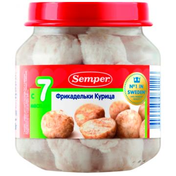Детское пюре SemperДетское пюре Semper фрикадельки курица с 7 мес. 125 г, возраст 3 ступень (6-12 мес). Проконсультируйтесь со специалистом. Для детей с 7 мес.<br><br>Возраст: 3 ступень (6-12 мес)