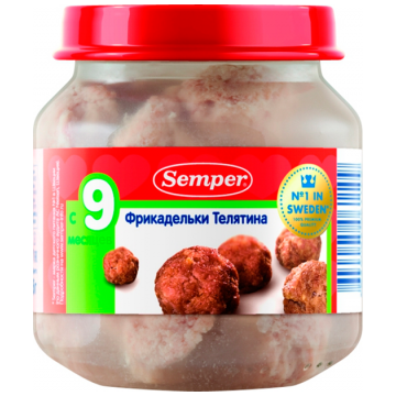 Детское пюре SemperДетское пюре Semper фрикадельки телятина с 9 мес. 125 г, возраст 3 ступень (6-12 мес). Проконсультируйтесь со специалистом. Для детей с 9 мес.<br><br>Возраст: 3 ступень (6-12 мес)
