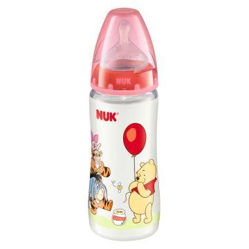 Бутылочка NukБутылочка Nuk First Choice ДИСНЕЙ пластиковая, 300 мл + соска с вентиляцией из силикона, р1 с рождения, размер 0-6 мес., возраст 1 ступень (0-3 мес)<br><br>Размер: 0-6 мес.<br>Возраст: 1 ступень (0-3 мес)