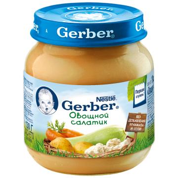 Детское пюре GerberДетское пюре Gerber овощной салатик овощное 1 ступень 130 г, возраст 2 ступень (3-6 мес). Проконсультируйтесь со специалистом. Для детей с 0 месяцев<br><br>Возраст: 2 ступень (3-6 мес)