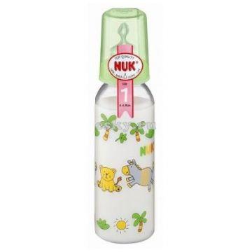 Бутылочка NukБутылочка Nuk стеклянная, 230/250 мл + соска с вентиляцией из силикона, р1 с рождения, размер 0-6 мес., возраст 1 ступень (0-3 мес)<br><br>Размер: 0-6 мес.<br>Возраст: 1 ступень (0-3 мес)
