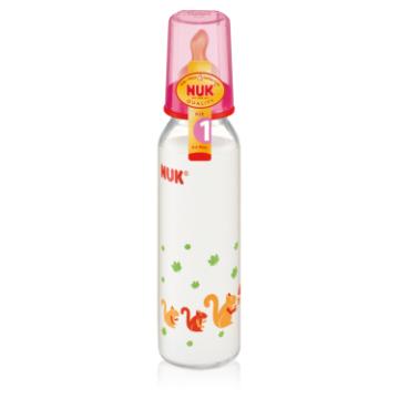 Бутылочка Nuk стеклянная, 230/250 мл + соска с вентиляцией из латекса, р1 с рождения