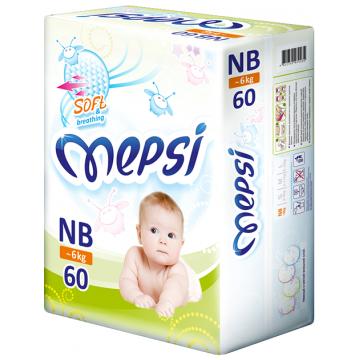 Подгузники MepsiПодгузники Mepsi размер NB (до 6 кг) 60 шт, в упаковке 60 шт., размер NB<br><br>Штук в упаковке: 60<br>Размер: NB