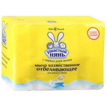 Мыло хозяйственное Ушастый няньМыло хозяйственное Ушастый нянь с отбеливающим эффектом 4 шт. х 100 г, в упаковке 4 шт.<br><br>Штук в упаковке: 4