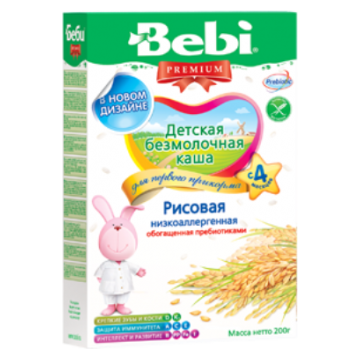 Каша BebiКаша Bebi рисовая низкоаллергенная безмолочная с пребиотиками Премиум с 4 мес. 200 г, возраст 2 ступень (3-6 мес). Проконсультируйтесь со специалистом. Для детей с 4 мес.<br><br>Возраст: 2 ступень (3-6 мес)