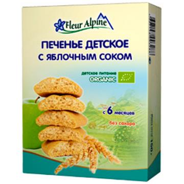 Печенье детское Fleur AlpineПеченье детское Fleur Alpine Organic С яблочным соком с 6 мес 150 г, возраст 3 ступень (6-12 мес). Проконсультируйтесь со специалистом. Для детей с 6 месяцев<br><br>Возраст: 3 ступень (6-12 мес)