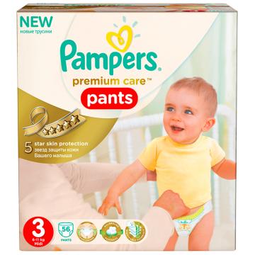 Трусики PampersТрусики Pampers Premium Care midi (6-11 кг) экономичная упаковка 56 шт, в упаковке 56 шт., размер M<br><br>Штук в упаковке: 56<br>Размер: M